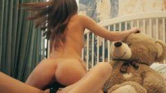 Lesbian Roommates Strapon Vibrator Sex And Teddy Bear Fuck, Facial Jizz Swap