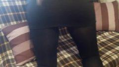 Girl In Black Pantyhose Playing And Teasing