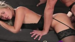 Strapon Darling In Black Stocking And Suspenders Gets DP From Strapon Dick