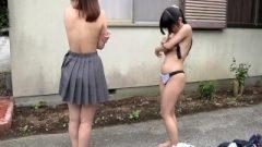 Subtitled nippon Teens Strip Rock Paper Scissors Outside