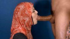 Arab female With Hijab Sucks A Big White Cock For Cum