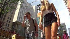 Hto Golden-haired Up Her Skirt In Thong