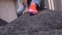 Rocker Young Showing Off Nasty Socks In Public Foot Fetish