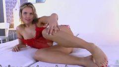 Regina Looks Fantastic In Red Lingerie